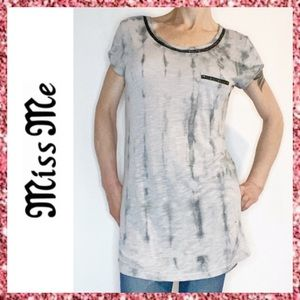 Miss Me Gray Chain Embellished Tie Dye Top Large L